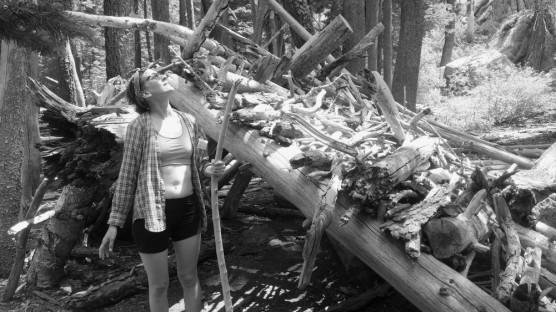 Renae sauntering in the woods