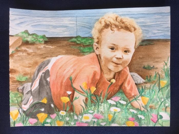 "Flower Child, watercolor 9"" x 12"""