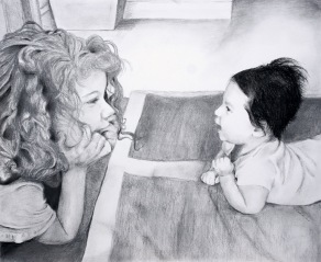 """Vargas Sisters, graphite and charcoal on paper (~16"""" x 20"""")"""