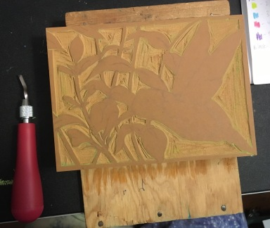 First layer carved into lino block.