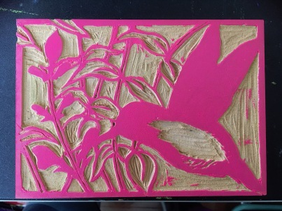 Second layer carved with pink ink rolled on.